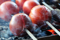 Tomato & Potato. Tasty, delicious, appetizing, healthy. Wood-fired grill vegetables. Barbecued vegetables. Cooked on skewer. Stock Images