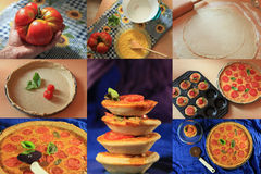 Tomato quiche collage. Making of and end result of a tomato quiche stock image