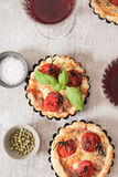 Tomato quiche with wine the national France. Tomato quiche with wine the national prescription France stock photo