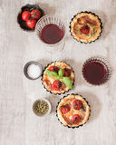 Tomato quiche with wine the national France. Tomato quiche with wine the national prescription France royalty free stock image