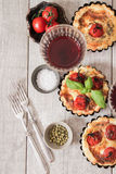 Tomato quiche with wine the national France. Tomato quiche with wine the national prescription France royalty free stock images