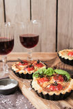 Tomato quiche with wine the national France. Tomato quiche with wine the national prescription France stock image