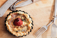 Tomato quiche with wine the national France. Tomato quiche with wine the national prescription France stock photography