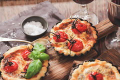 Tomato quiche with wine, the national prescription France stock photos