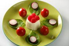 Tomato, radish and fresh cheese salad. Salad in green dish with tomato, radish and fresh cheese stock images