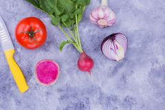 Tomato, radish, onion, garlic on table. Different vegetables on concrete table. Fresh food from garden Stock Image