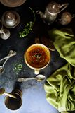 Tomato Rasam - recipe preparation photos with photos of the final dish and traditional mattha stock images