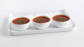 Tomato Rasam South Indian Traditional Vegetarian Semi-liquid Dish Stock Photo