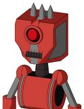 Tomato-Red Droid With Mechanical Head And Dark Tooth Mouth And Cyclops Eye And Three Spiked. Portrait style Tomato-Red Droid With Mechanical Head And Dark Tooth stock illustration