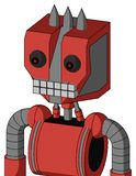 Tomato-Red Droid With Mechanical Head And Keyboard Mouth And Red Eyed And Three Spiked. Portrait style Tomato-Red Droid With Mechanical Head And Keyboard Mouth royalty free illustration