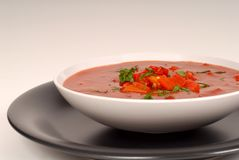 Tomato, red pepper, basil soup in white bowl with light gray bac Royalty Free Stock Photos