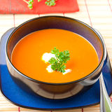 Tomato and  red pepper soup Stock Photos