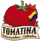 Tomato, Ribbon and Colombian Flag for Tomatina Event in Sutamarchan, Vector Illustration. Poster with greeting ribbon over big tomato decorated with Colombian Royalty Free Stock Photos