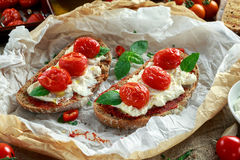 Tomato Ricotta Bruschetta with sun dried tomatoes paste, olive oil brown bread and basil Royalty Free Stock Image