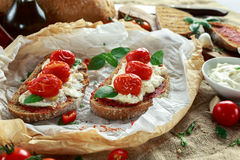 Tomato Ricotta Bruschetta with sun dried tomatoes paste, olive oil brown bread and basil Stock Photography