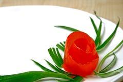 Tomato Rose. Image of tomato floral food garnish royalty free stock photo