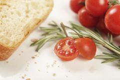 Tomato rosemary bread. Close up, blurred background Stock Photos