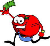 Tomato running with money Royalty Free Stock Image