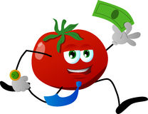 Tomato running with money Stock Photography