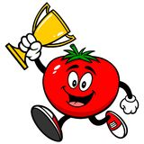 Tomato Running with a Trophy Royalty Free Stock Photos