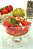 Tomato salad. With fresh herbs stock photos