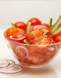 Tomato salad. On plain background Stock Photos