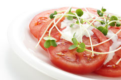 Tomato salad. Close-up tomato salad on white plate Stock Photography