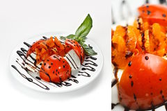 Tomato salad. With balsamic vinegar and garnish stock image