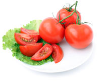 Tomato and salad. On a white plate Stock Photos