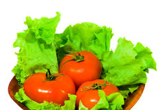 Tomato in salad. Several red and big tomato in bowl. isolated. salad Stock Photography