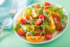 Tomato salad with arugula over green background Stock Photography