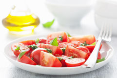 Tomato salad with basil dressing Stock Photos