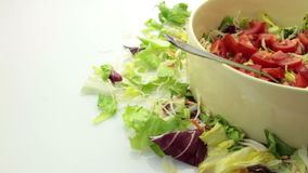 Tomato salad in bow tracking pack stock footage