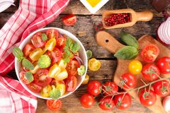 Tomato salad bowl. Top view Stock Images