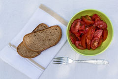 Tomato salad with brown bread Royalty Free Stock Photography