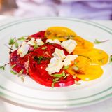 Tomato salad and cheese Stock Images