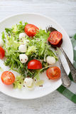 Tomato salad with cheese on plate Stock Photo