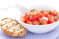 Tomato salad with chives Royalty Free Stock Image