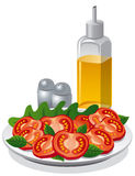 tomato salad and cooking oil Stock Photo