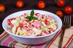 Tomato salad with cucumber and onion Stock Photography