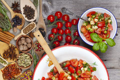 Tomato salad an enamel bowl Royalty Free Stock Photography