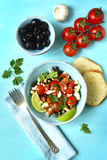 Tomato salad with feta cheese and olive. Royalty Free Stock Photos