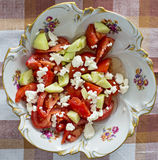 Tomato salad. Fresh tomato and cucumber salad prepared stock photo