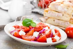 Tomato salad with fresh red onion and feta cheese Stock Image