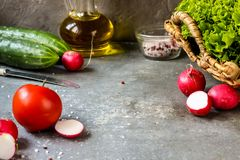 Tomato salad and fresh vegetables and herbs for cooking. Selective focus Royalty Free Stock Photos