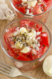 Tomato salad in a glass bowl Royalty Free Stock Image
