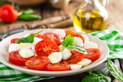 Tomato salad with mozzarella cheese and olive oil. Italian cuisine Royalty Free Stock Photography