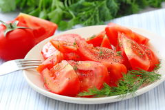 Tomato salad with pepper and greens Stock Images