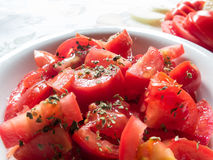 Tomato salad. A plate with fresh red tomatoes and in the background some onion Stock Image