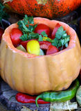 Tomato salad in a pumpkin Royalty Free Stock Photography